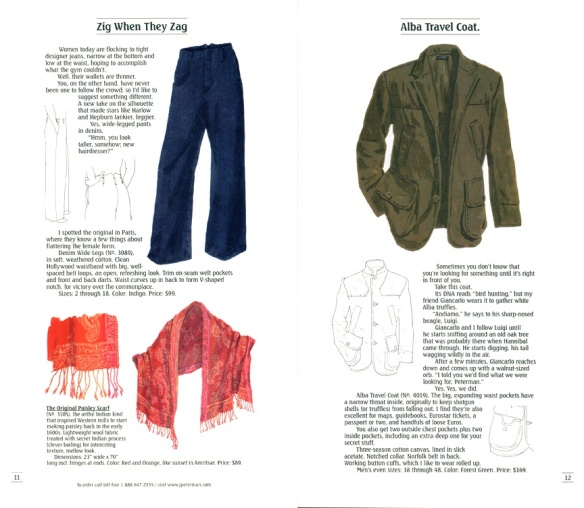 """Old Skool"" J Peterman catalog, telling stories of garments."
